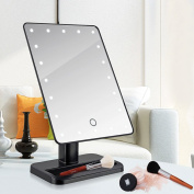 Hifina LED Touch Screen Makeup Mirror 20 LEDs Lighted Makeup Cosmetic Mirror Adjustable Vanity Tabletop Countertop Bathroom Mirror
