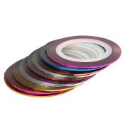 Qingsun 30 Pcs Mixed Colours Nail Art Striping Tape Line Rolls Nail Sticker Decoration