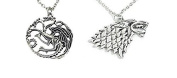 "Pair of necklaces and metal pendants. TV series GAME OF THRONES. Models ""Stark house crest"" and ""Three Dragons"". Silver colour."