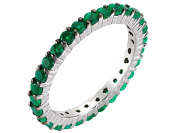 Shared Prong Eternity Emerald Ring in 18K Gold