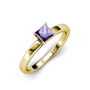 Iolite Solitaire Ring 0.85 ct in 14K Yellow Gold