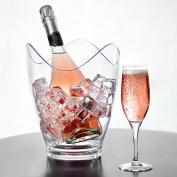 Glacier Acrylic Curve Wine Bucket - Plastic Shatterproof Champagne Cooler