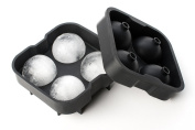 Wuzmei Ice Ball Maker Mould 4 Whiskey Ice Balls - Premium Black Flexible Silicone Round Sphere Ice Calm Shapes 4 x 4.5 cm Round Ice Ball