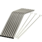 8Pcs Stainless Steel Metal Drinking Straw + Brush Cleaner