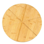 """Woodluv Bamboo Pizza Cake Serving Cutting Platter Board, 13"""" (30cm) 6 sections Wooden Snack Canape Platter"""