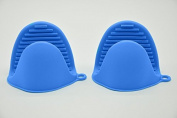 Bestga Silicone Pot Holder Mini Oven Mitt Cooking Pinch Grips Kitchen Heat Resistant Solution Cooking Baking Potholders - Set of 2,Blue