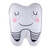 Cute Plush Back Pillow Toy Tooth Shaped Cushion - White, L