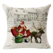 Decorie Romantic Snowing Christmas Linen Square Pillow Case for Home Decor