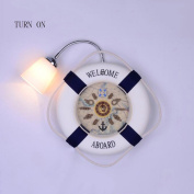 Mediterranean Single-head Iron LED Eye Protection Clock Wall Lamp Children's Bedside Wall Lamp