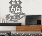 Sticker Route 66. (Approx. 90 x 82 cm) Grey,