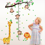 Animals Tree Branch Height Measurement Wall Sticker Decal Home Paper PVC Murals House Wallpaper Bedroom Kids Babys Living Room Art Picture Decoration