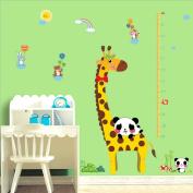 Cartoon Giraffe Height Measurement Pandas Heart Shape Wall Sticker Paper Home Decal Removable Living Dinning Room Bedroom Kitchen Art Picture Murals Girls Boys kids Nursery Baby Decoration