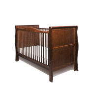 NEW PINE WOOD WALNUT COLOUR SLEIGH BABY COT BED / JUNIOR BED / 3 in 1 / COT BED ONLY