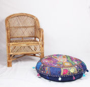 JTH Decorative Vintage pouffe Ottoman Patchwork Embroidered Footstool (Size