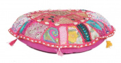 Decorative Living Room Cotton Cushion pouffe Indian Embroidered Patchwork Ottoman
