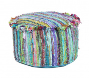 Bohemian Patchwork Large Round Ottoman Seat Floor Decor Pouffe Stool