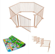 6 Panel Foldable Large Wooden Baby Playpen - Folding Room Divider/Play Pen for Babies & Toddlers w/ Soft Foam Activity Playmat / International Delivery