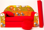 D2L + Children's Fold-Out Sofa Couch Sofa Mini 3 in 1 Baby Set + Child Seat and Seat Sofa Cushion/Mattress