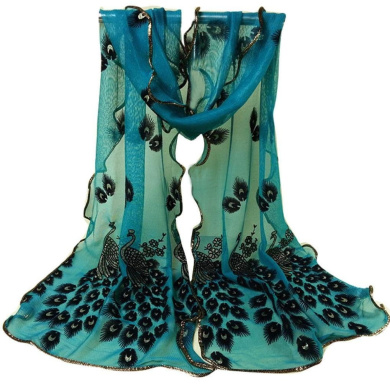 Datework Women Peacock Flower Embroidered Lace Scarf (Green)