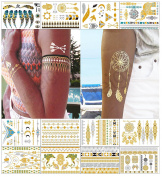 Metallic Temporary Tattoos for Women Teens Girls - AMAZING VALUE Fake Tattoo Stickers Colour Flash Tattoo Gold Silver Tattoo Shimmer Designs Jewellery Tattoos Waterproof Transfers 150+ 12 Sheets