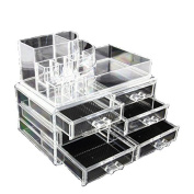 Clear Acrylic Cosmetics Makeup Jewellery Organiser 6 Drawers with 8 Compartments Top Section