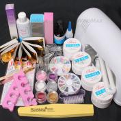 22 in 1 Pink Clear White UV Gel Kit 9W Dryer Lamp Tube UV Brush Buffer Guides Toe Seperator Glitter Powder Dryer Liquid Tools Nail Tips Glue DIY Kit