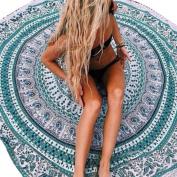 Usstore 148cmX148cm Beach Throw Bohemian Round Hippie Pool Home Beach Cover Up Dress Swimwear Bathing Suit Kimono Tunic Yoga Mat Fringing Beach Towel wall hanging