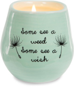 Pavilion Gift Company 77111 Plain Dandelion Wishes - Some See a Weed Some See a Wish Green Ceramic Soy Serenity Scented Candle,