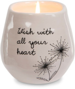 Pavilion Gift Company 77112 Plain Dandelion Wishes - Wish with All Your Heart Pink Ceramic Soy Serenity Scented Candle,