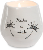 Pavilion Gift Company 77110 Plain Dandelion Wishes - Make A Wish White Ceramic Soy Serenity Scented Candle,