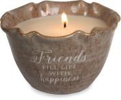 Pavilion Gift Company 86218 Plain Love Lives Here - Friends Fill Life with Happiness Single Wick Ceramic Tranquilly Scented Candle,