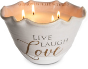 "Pavilion Gift Company 86210 4 Wick Love Lives Here ""Live Laugh Love"" Ceramic Tranquilly Scented Candle"