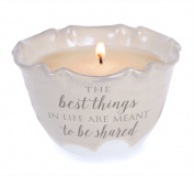 "Pavilion Gift Company 86216 Love Lives Here ""The Best Things In Life Are Meant To Be Shared"" Single Wick Ceramic Tranquilly Scented Candle"