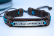 """Inspirational Bracelet """"Where there's a will there's a way""""/ Pure Essence Diffuser Bracelet/ Aromatherapy Leather Bracelet for her or him"""
