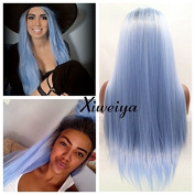 Dark root silky straight Heat Resistant Fibre Hair mermaid ombre blue colour wig Synthetic lace front wig for women