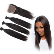 Dingli Hair Top Quality Brazilian Virgin Hair Straight Weave Mixed Length 3 Bundles with Free Part Lace Closure Human Hair Weave Extensions Nature Colour