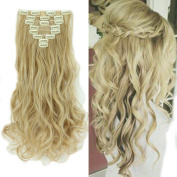 Clip in Hair Extensions Synthetic Full Head Hairpieces Japanese Kanekalon Fibre Thick Long Curly Wavy 8pcs 18clips for Women Fashion and Beauty 43cm / 43cm