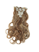 Charming Women 60cm Clip in Curly Hair Extensions Hairpiece 3/4 Full Head Hair Wig 8PCS with 18 clips