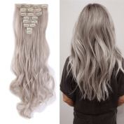 Light Grey Clip in Hair Extensions Synthetic Full Head Hairpieces Japanese Kanekalon Fibre Thick Long Wavy Curly Soft Silky 8pcs 18clips for Women Fashion and Beauty 60cm / 60cm