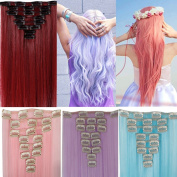 3-5 .  Fashionable Multicolor Straight Wavy Curly Synthetic Clip in Hair Extensions Hairpiece - 8 Piece a Set