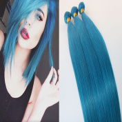 Blue virgin brazilian human hair 100g/bundles double drawn hair weave