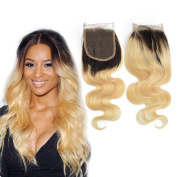 Dingli Hair Free Part Ombre Blonde 1 Piece Closure 100% Brazilian Virgin Hair Body Wave Swiss Lace Closure with Baby Hair #1b/613