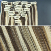 Beauties Factory BF 50cm Medium Brown/ Blonde Mix Full Head Clip in Straight Remy Human Hair Extensions