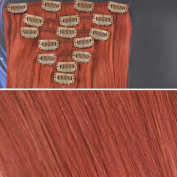 Beauties Factory BF 50cm #530 Burgundy (Hair207) Full Head Clip in Straight Remy Human Hair Extensions