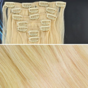 Beauties Factory BF 46cm Bleach Blond (Hair203) Full Head Clip in Straight Remy Human Hair Extension