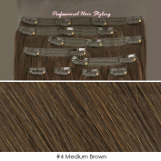 Beauties Factory BF Professional 50cm Clip in 100% Remy Human Hair Extension 100g #4 Medium Brown CODE