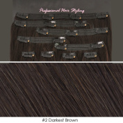 Beauties Factory BF Professional 50cm Clip in 100% Remy Human Hair Extension 100 gramme #2 Darkest Brown CODE