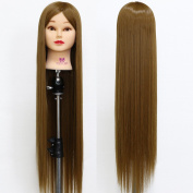 Neverland Beauty 80cm Super Long Smooth 100% Synthetic Brown Hair Hairdressing Equipment Styling Head Doll Mannequin Training Head Tools Braiding Cutting Student Practise Model with Clamp