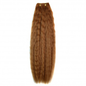Drasawee Women's Long Wavy Curly Silky Human Hair Extensions Weft Hair Pieces Light Brown 36cm