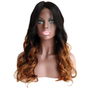 VK Ombre Peruvian Virgin Remy Hair Lace Front Wig 130% Density Body Wave Human Hair Wig 1B/30# 60cm